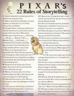 Pixar - 22 Rules of Storytelling - Great advice for writers. We all watched Pixar movies growing up. Book Writing Tips, Writing Resources, Teaching Writing, Writing Help, Writing Skills, Writing Services, Script Writing, Essay Writing, Fiction Writing