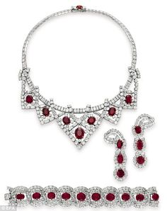 Elizabeth Taylor's Cartier ruby and diamond suite, given to her by third husband Mike Todd