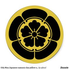 Oda Mon Japanese samurai clan yellow on black Classic Round Sticker