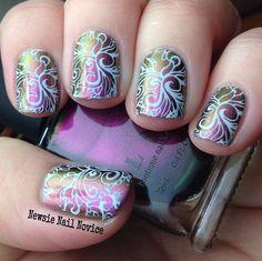 ILNP Masquerade Holo base polish; Born Pretty Plate BP-22 and the Born Pretty Store white nail stamping polish
