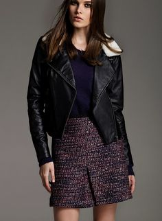 PU Leather Jacket With Removable Faux Fur Collar