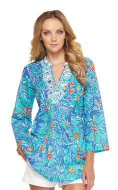 Lilly Pulitzer Sarasota Beaded Tunic, $148 in iris blue mai tai
