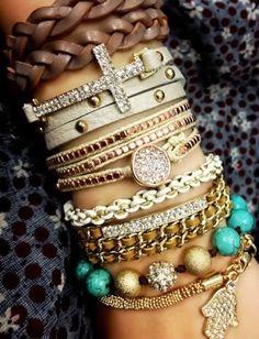Love Layered Bracelets <3 #hamsa #cross