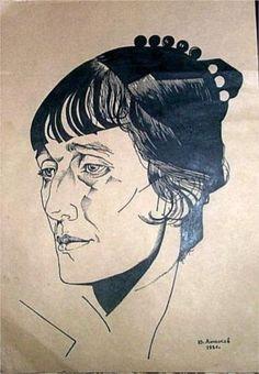 Portrait of  poet Anna Akhmatova  (born 23.06.1889) - Jury Annenkov