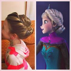 Leah's top hair pick is Elsa's coronation up do! I will post a couple other ideas if she can't sit for this long LOL - Do You Wanna Build an Updo? 5 Cool Hairstyles Inspired by Frozen - Coronation Updo Flower Girl Hairstyles, Little Girl Hairstyles, Pretty Hairstyles, Wedding Hairstyles, Frozen Hairstyles, Disney Hairstyles, Girls Hairdos, Toddler Hairstyles, Birthday Hairstyles