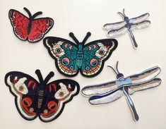 Patches Butterfly dragonfly Applique sequins clothing accessory embroidery  | eBay