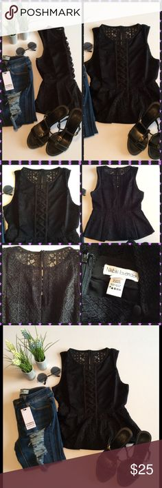 Lace Up Peplum Top Black sleeveless lace up top, with all over lace, back features zipper and button closure.  Cute Peplum style.  95% Nylon 5% Spandex. Turning Point Tops