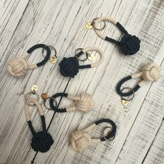Monkey fist knot key chains. Dipped in Navy blue, by @perchshop