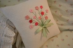 Reserved for Sarah Pink Floral Bouquet Pillow by AThymetoSew