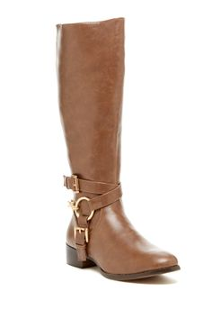 Elegant Footwear Cilenia Buckle Strap Tall Boot//