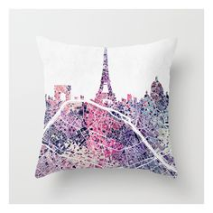 Paris Skyline + Map #1 Throw Pillow ($20) ❤ liked on Polyvore