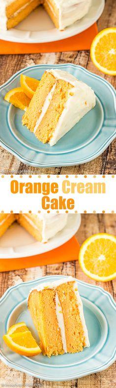 Orange Cream Cake with Orange Buttercream Frosting!