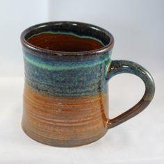 Stoneware pottery mug, copper and turquoise blue glaze (Large- 12 oz) by CenteredVessel on Etsy