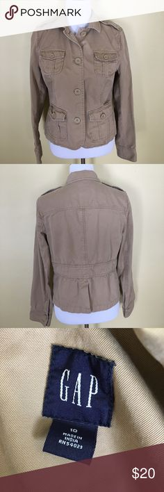Gap Utility Jacket Gap Utility Jacket. Khaki material. In great condition with no rips or stains. Sight fading due to washing and wear. Extra buttons on the inside and I removed a clothing tag for comfort. See close up. GAP Jackets & Coats Utility Jackets