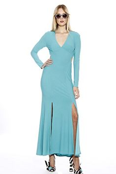 Christian Siriano New York Spring 2017 Runway Long Sleeve Backless Dress (Teal (Blue), Medium) Double Slit Dress, Long Sleeve Backless Dress, Christian Siriano, Teal Blue, Latest Fashion For Women, Fashion Beauty, Runway, Dresses For Work, York