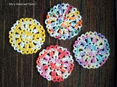 Free Crochet Pattern for these cute little Spring time coasters ~I love the yellow and white one, reminds me of daffodils :) j.m Rice Marie Crochet Coaster Pattern, Crochet Motifs, Crochet Dishcloths, Crochet Flower Patterns, Crochet Squares, Crochet Granny, Crochet Doilies, Crochet Flowers, Knit Crochet