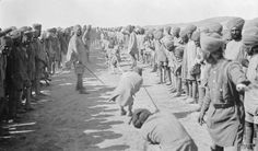 Men of the 45th Rattray's Sikhs, 52nd Infantry Brigade, 17th Division at a tug of war.