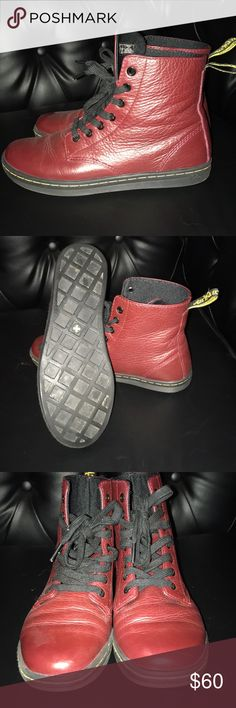 Dr martens Worn once. As you can see great condition in a burgundy red deeper in person. dr martens Shoes Combat & Moto Boots
