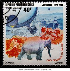 Elephant and Hot Air Balloon stamp