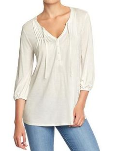 Women's Pintucked Tie-Yoke Tops. 100% rayon.  Hand wash.  Imported. Fitted through body  Hits below waist. $22.94