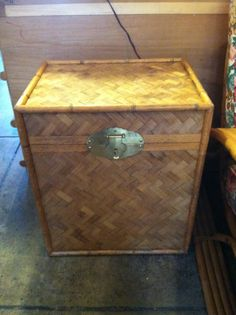 This petite bamboo trunk would be perfect as a side table or nightstand and doubles as space for storing your gaudy magazines. Los Angeles Sunset, Vintage Storage, Moving Out, Hope Chest, Vintage Furniture, Storage Chest, Nightstand, 1970s, Magazines