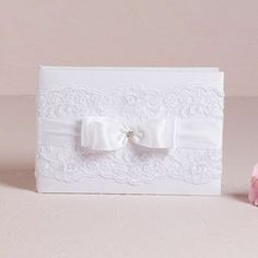 """French Lace Guest Book used in Glee's """"A Wedding"""" episode. #glee #wedding"""
