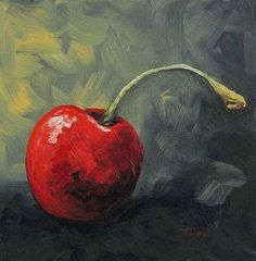 Red Cherries Painting - The Lone Cherry by Torrie Smiley Painting Still Life, Still Life Art, Vegetable Painting, Fruit Painting, Small Paintings, Art Paintings, Fruit Art, Pictures To Paint, Painting & Drawing