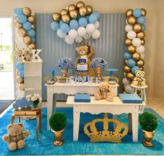 Pateeha Latex Blue Balloons 12 Inch White and Gold Balloons Round Balloons Arch Kit for Baby Shower Birthday Wedding Engagement Anniversary Festival Party Decorations Cute Baby Shower Ideas, Baby Shower Decorations For Boys, Boy Baby Shower Themes, Baby Shower Balloons, Baby Boy Shower, Deco Ballon, Teddy Bear Baby Shower, Baby Boy Birthday, Birthday Diy