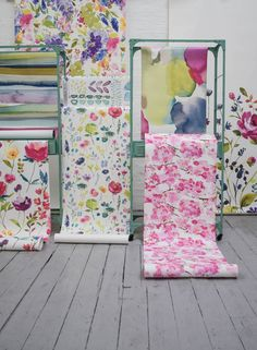 """We are delighted to share the launch of Bluebellgray's first ever highly  anticipated wallpaper collection with you. Statement floral and abstract  designs make a true design statement with walls of colour!  Big Rothesay  Flower Field  A selection of signature floral and abstract watercolour designs are  beautifully presented; digital printing captures every brushstroke and  walls of colour make a true feel good design statement.  Impressionist  Fumiko  """"Wallpaper is something I have been…"""