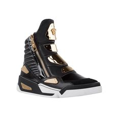 Add a cool street vibe to your look with these high-top sneakers. Crafted in soft leather and embellished with gold panels, to provide the ultimate luxury statement. #Versace