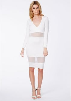 Talissa White Wrap Midi Dress With Mesh Detail is on sale now for - 25 % !
