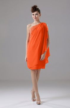 Tangerine Informal Sheath Backless Chiffon Knee Length Paillette Homecoming Dresses