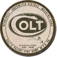 Colt Firearm's Logo Tin Sign