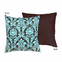 Turquoise and Chocolate Bella Decorative Throw Pillow by JoJo Designs