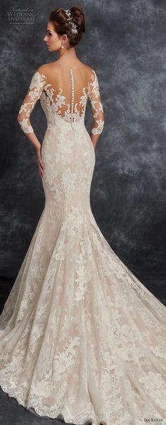 ira koval 2017 bridal three quarter sleeves sweetheart neckline full lace embellishment elegant trumpet mermaid wedding dress sheer button back chapel train (625) lv bv