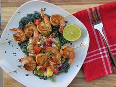 Peace, Love, and Low Carb: Chili-Lime Grilled Prawns w/ Avocado-Feta Salsa