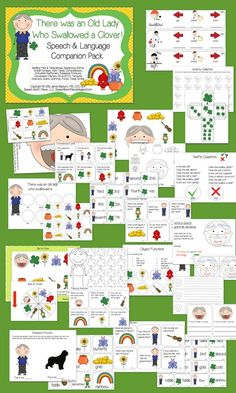 Speech Room News: There was an Old Lady Who Swallowed a Clover companion Pack. Color by part of speech and verb tense activities are my fav!!