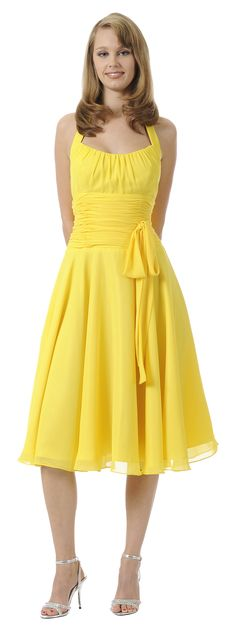 Halter Strap Yellow Graduation Dress Chiffon With Bow Knee Length (7 Colors Available)