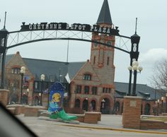 The Cheyenne Depot is a National Historic Landmark in Wyoming. Formerly the Union Pacific Depot. The boot art in front is one of 19 eight foot boots around the city created by the local art guild. <3 nana gloria