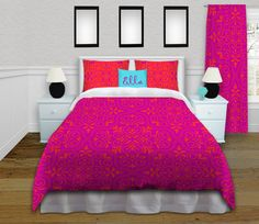Boho Comforter in Pink and Orange, Bohemian Bedroom, Bedding Set Queen / Full, King, Twin, Twin XL for Dorm Bedding #176 by EloquentInnovations on Etsy