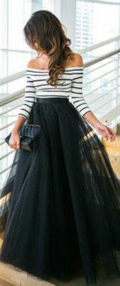 black tulle skirt   black and white stripe top