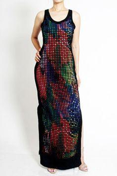 Colorful Artistic Underlay Maxi Dress