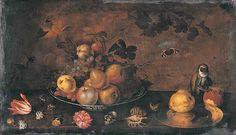 Ян Бауман. Цветы, фрукты и обезьяна. Первая половина XVII века