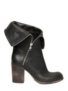 Strategia 80mm Calfskin Zip Folded Boots in Black | Lyst