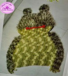 Tapete de Crochê Infantil em Formato de Leão e Sapo
