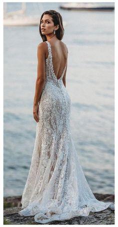 Wedding Dress Low Back, Wedding Dresses Photos, Lace Mermaid Wedding Dress, Wedding Dress Trends, Mermaid Dresses, Wedding Dress Styles, Dream Wedding Dresses, Lace Dress, Tulle Lace
