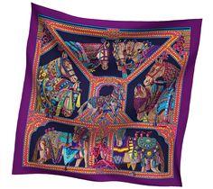 2014 F/W   La Danse du Cheval Marwari   Printed 65% cashmere and 35% silk shawl, hand rolled, 140x140cm   Ref. H242373S 32   VIOLET/CABAN/MULTICOLORE   AU$1,610.00