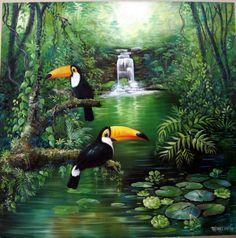 Pintura óleo sobre tela de Fátima Corrêa -Brasil Birds Painting, Jungle Pictures, Jungle Art, Animal Art, Mural Art, Wildlife Art, Art, Tropical Art, Bird Art