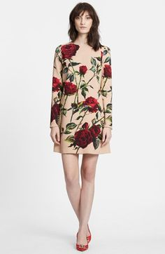 dolce & gabbana Rose Print Long Sleeve Cady Dress