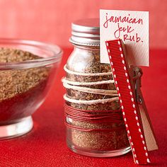 Meat Rub in a Homemade Spice Jar.. With meat recipe & rub recipe listed below for an easy do. .If your guy is a big griller.. He'll love it. !